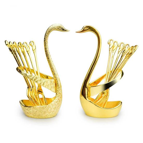 Picture of Swan Stand Spoon Set 6pcs