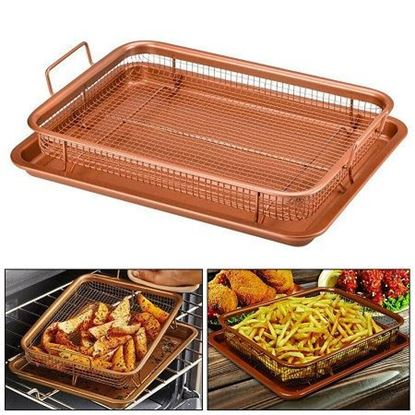 Picture of copper rectangle crispy tray
