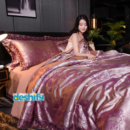 Picture of Bed Sheet Set - 1 Bed Sheet +1 Comforter Cover + 2 Pillow Cover (100% Modal Cotton)
