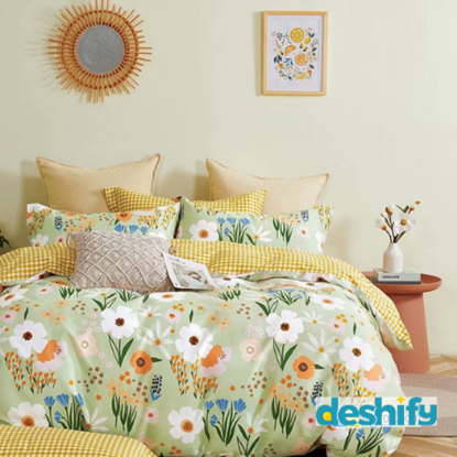 Picture of Bed Sheet Set - 1 Bed Sheet +1 Comforter Cover + 2 Pillow Cover (100% Cotton)