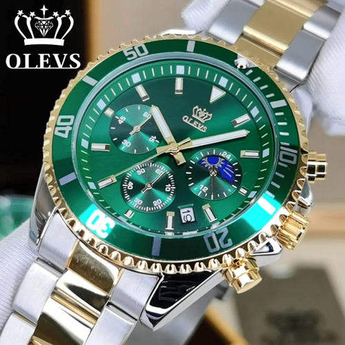 Picture of OLEVS (OL- GG-6005) GREEN GOLD Multi Function Chronograph Watch