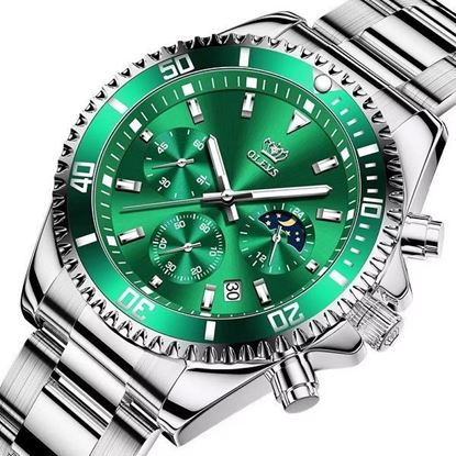 Picture of OLEVS (OL- GS-6004) GREEN SILVER Multi Function Chronograph Watch
