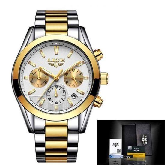 Picture of LIGE LG9872D Business Quartz Watch Men Silver Gold White