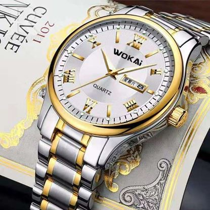 Picture of WOKAI W104 MENS DUAL CALENDAR WATCH WATCHES WITH STAINLESS STEEL