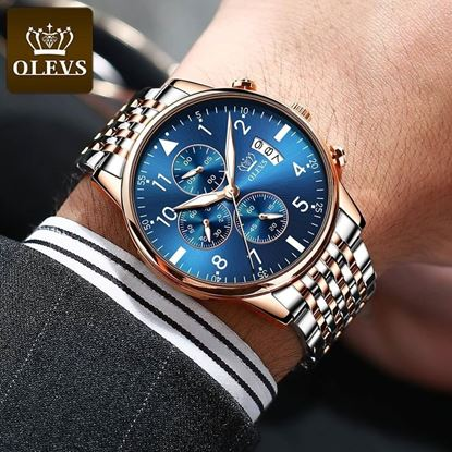 Picture of Olevs BLUE 2869  Three Eyes Six Hands Multifunction Chronograph Watch