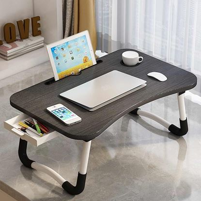 Picture of Folding Laptop Stand Holder & Study Table Desk for Bed (Black color )