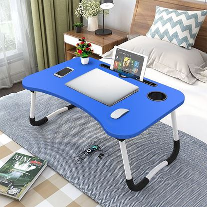 Picture of FOLDING LAPTOP STAND HOLDER & STUDY TABLE DESK FOR BED BLUE COLOR