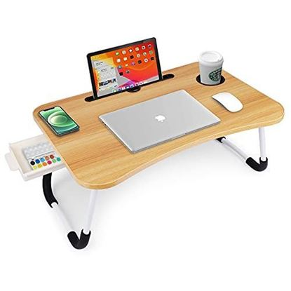Picture of FOLDABLE  LAPTOP & STUDY TABLE WITH DRAWER (WOODEN COLOR )
