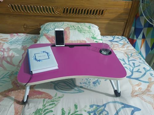 Picture of FOLDING LAPTOP STAND HOLDER & STUDY TABLE DESK FOR BED Pink COLOR