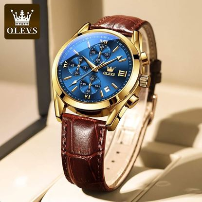 Picture of OLEVS- 201 New Fashion  Premium Leather Waterproof Sport Chronograph Watches For Men