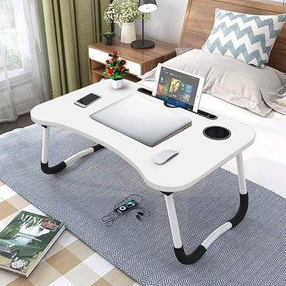 Picture of FOLDING LAPTOP STAND HOLDER & STUDY TABLE DESK FOR BED (White Color)